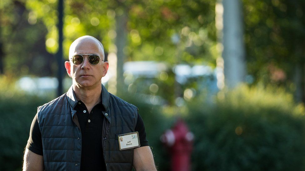 Jeff Bezos, chief executive officer of Amazon, arrives for the third day of the annual Allen & Company Sun Valley Conference, July 13, 2017 in Sun Valley, Idaho.