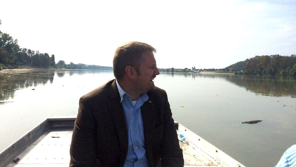 Vit Jedlicka with Liberland on the right hand shore