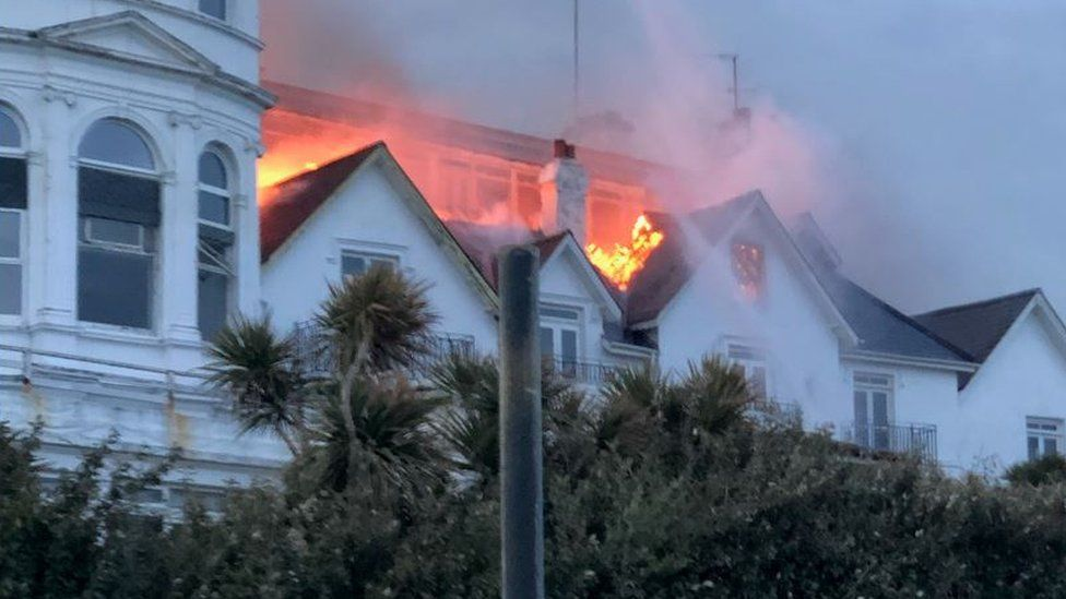 Fire at the Ocean Hotel in Sandown, Isle of Wight