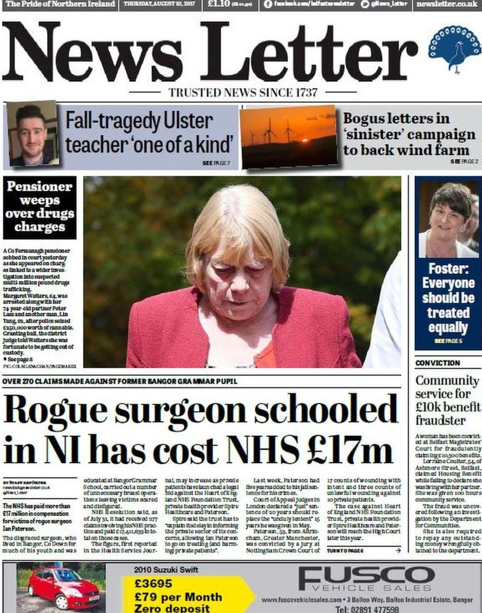 Front page of the News Letter on Thursday