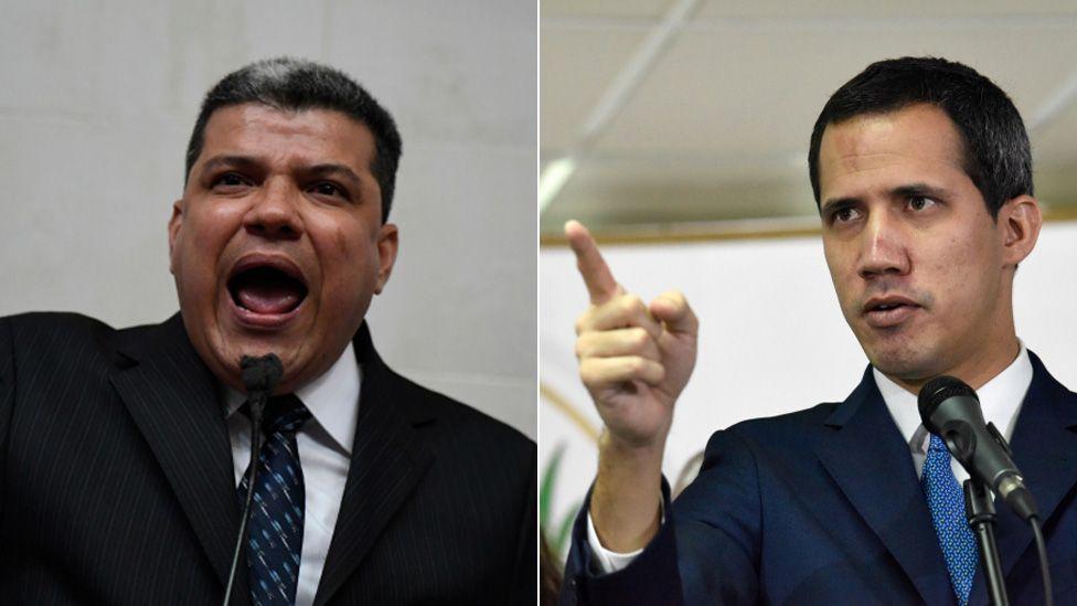 Composite photo of lawmakers Luis Parra (left) and Juan Guaidó