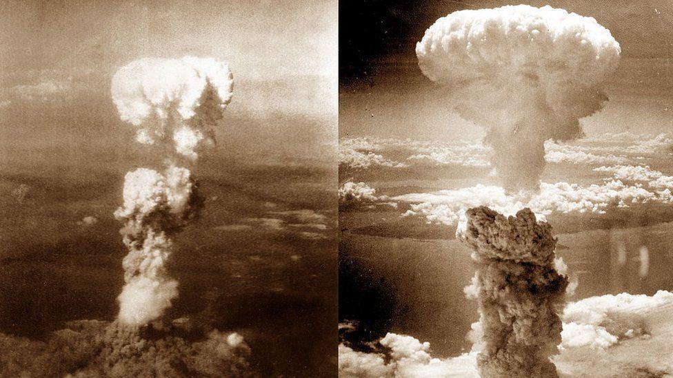 World War II, Atomic bomb mushroom clouds over Hiroshima (left) and Nagasaki (right), August 1945, Japan
