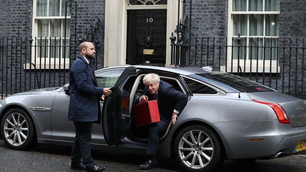 Boris Johnson arrives at No 10