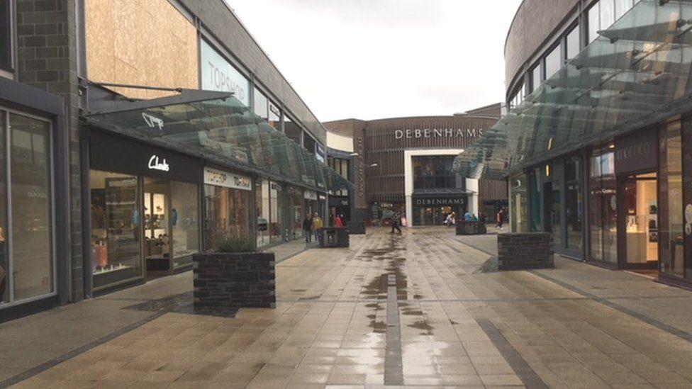 Looking towards Debenhams store in the shopping centre
