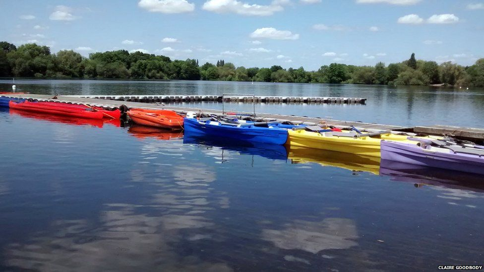 Colourful boats at Hillingdon Outdoor Activity Centre