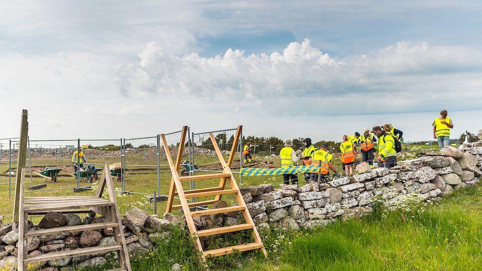 The team excavating the Sandby Borg massacre site on Oland island