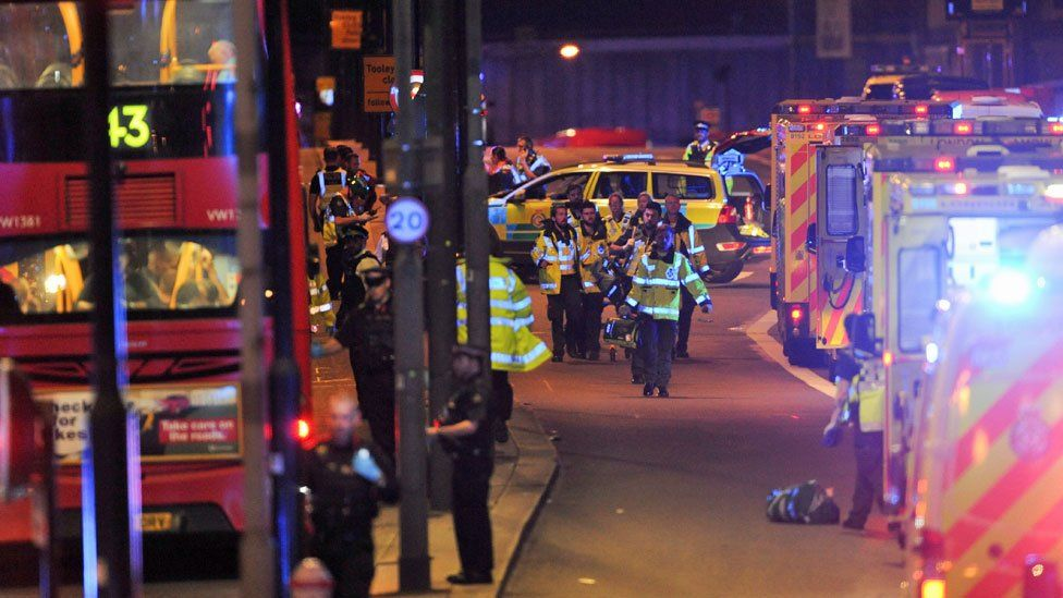 Members of the emergency services attend the London Bridge attack