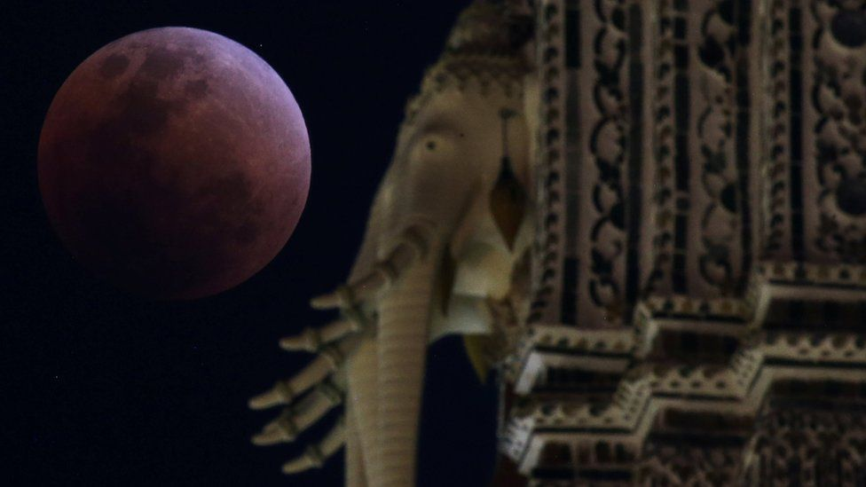 """A """"super blood blue moon"""" is seen behind an elephant statue during an eclipse at a temple in Bangkok, Thailand, 31 January, 2018."""