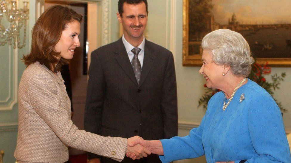 Queen Elizabeth II receives Asma al-Assad and her husband Bashar on 17 December 2002 at Buckingham Palace