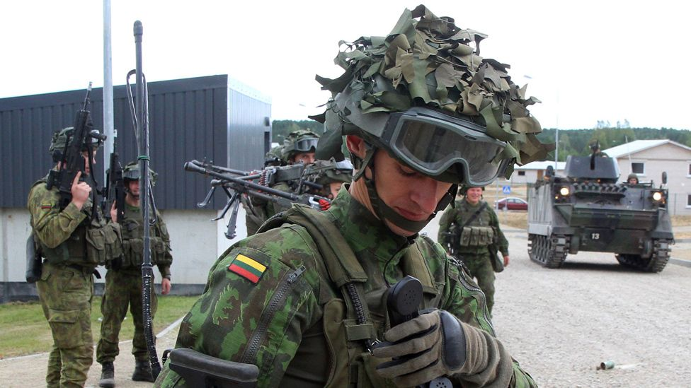 Lithuanian troops on exercises at Pabrade, Aug 2016