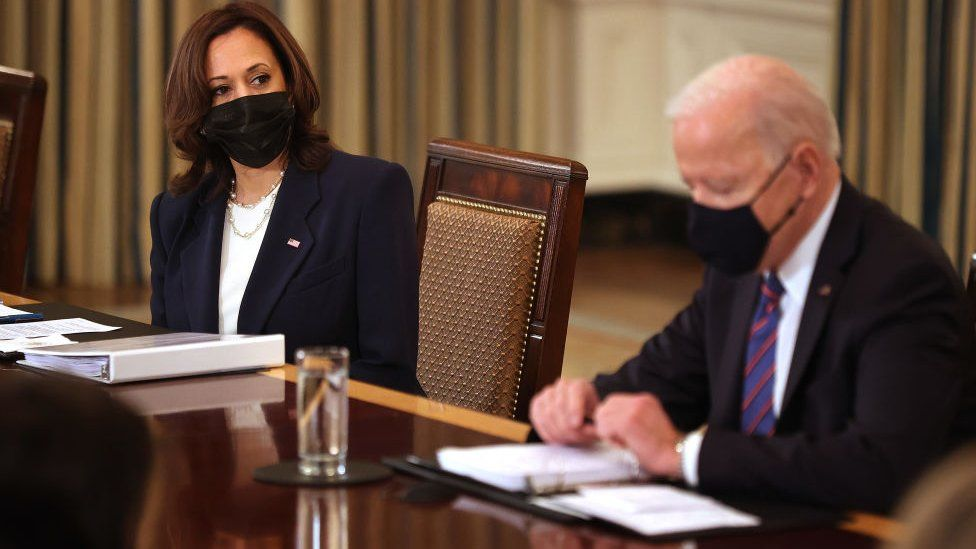 Kamala Harris and President Joe Biden meet cabinet members and immigration advisers in the State Dining Room