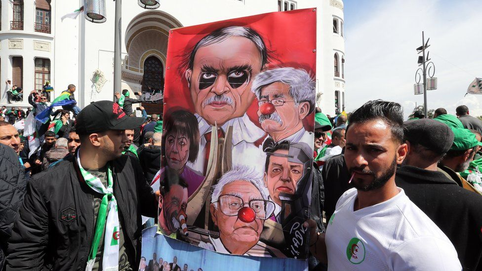 Demonstrators outside Le Grande Poste in Algiers