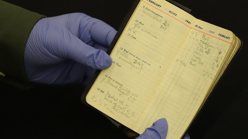 Photograph from GCHQ archives of a page from Alaistair Denniston's diary from February 1941