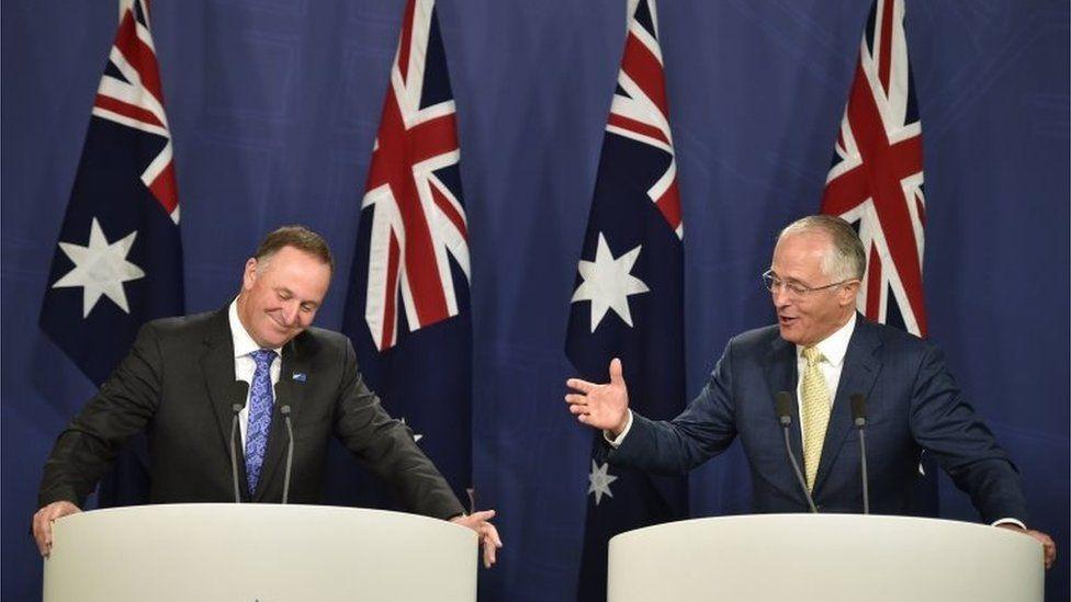 New Zealand PM John Key and Australian PM Malcolm Turnbull in Sydney (Feb 2016)