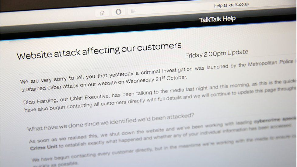 Announcement to customers on TalkTalk's website after data breach in 2015