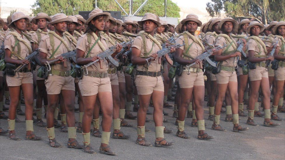Cadets, currently in their last year of school, on parade in Asmara