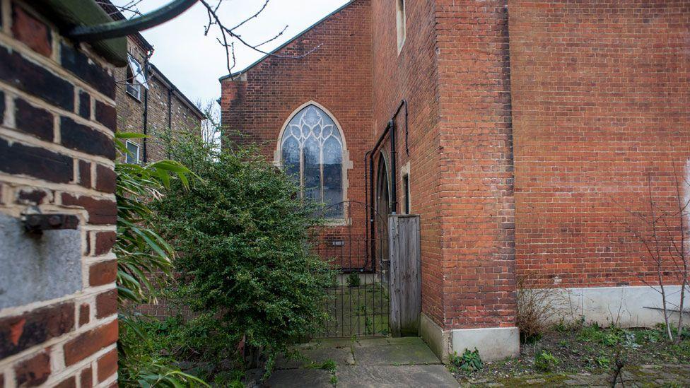 Side door at St Swithun's, Lewisham