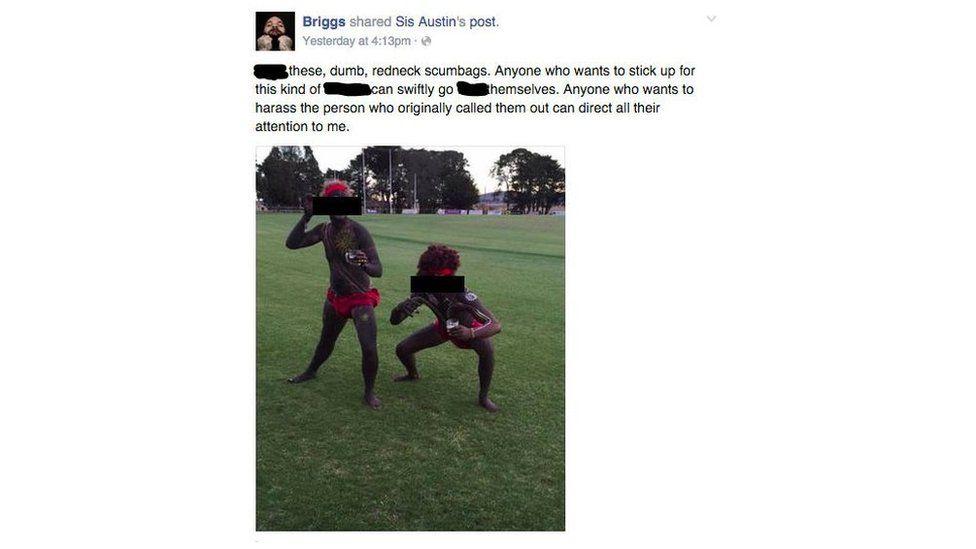 Screen grab of Indigenous rapper Briggs' criticism of two men