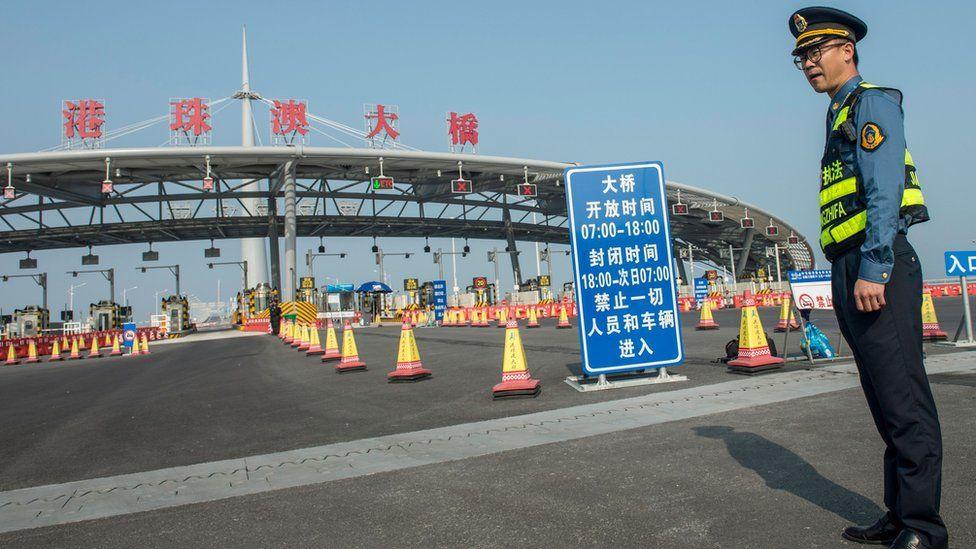 Toll booths at the Hong Kong Macau bridge