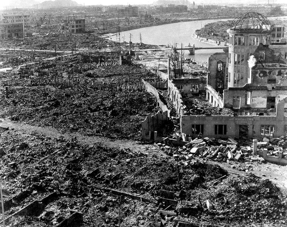 En vy över ödeläggelsen av Hiroshima efter atombomben