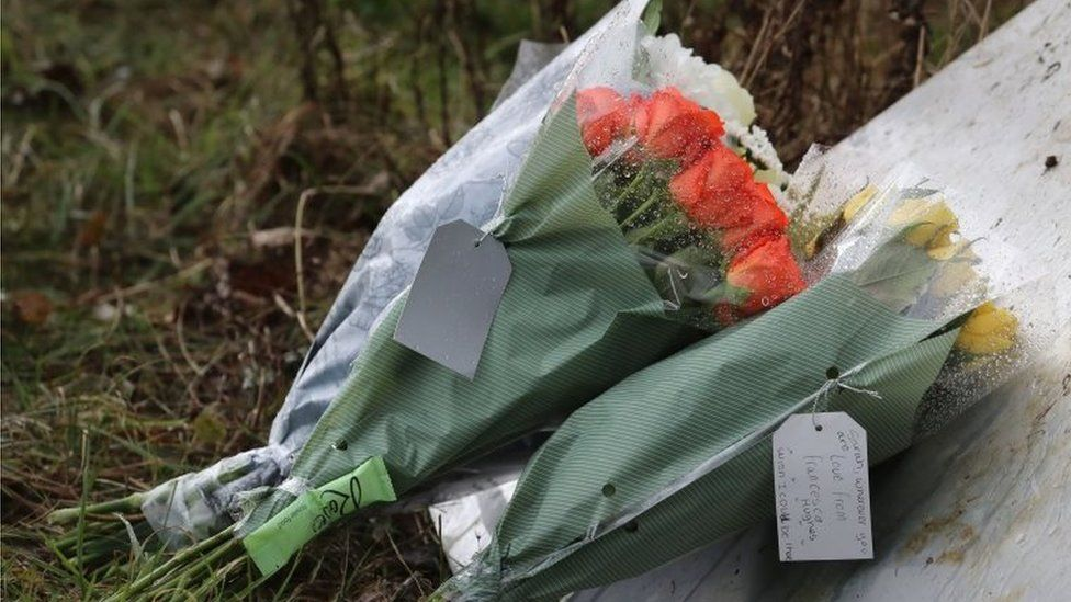 Flowers from members of the public left near Great Chart Golf and Leisure near Ashford in Kent