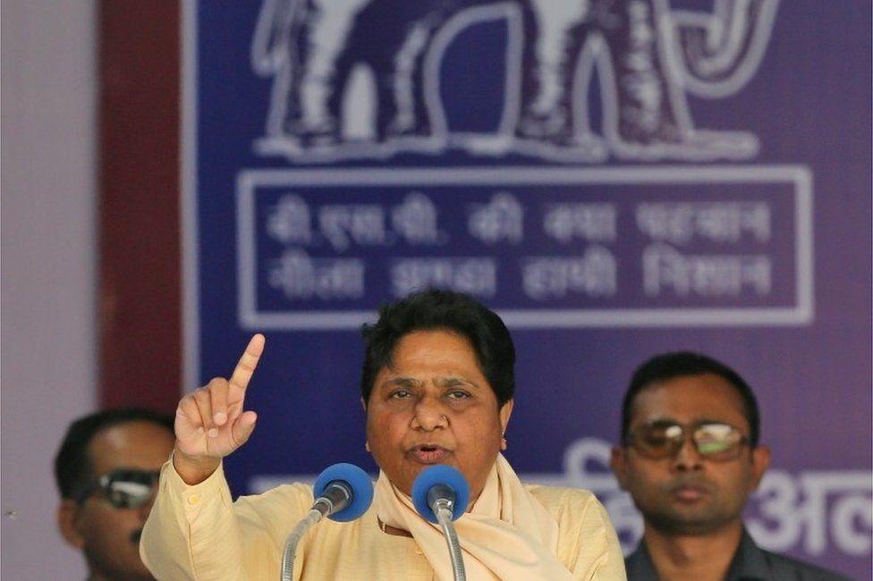 Bahujan Samaj Party (BSP) Chief Mayawati addresses an election campaign rally in New Delhi, India, May 10, 2019.