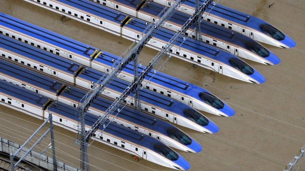 Bullet train rail yard is seen flooded due to heavy rains caused by Typhoon Hagibis in Nagano, central Japan, October 13, 2019