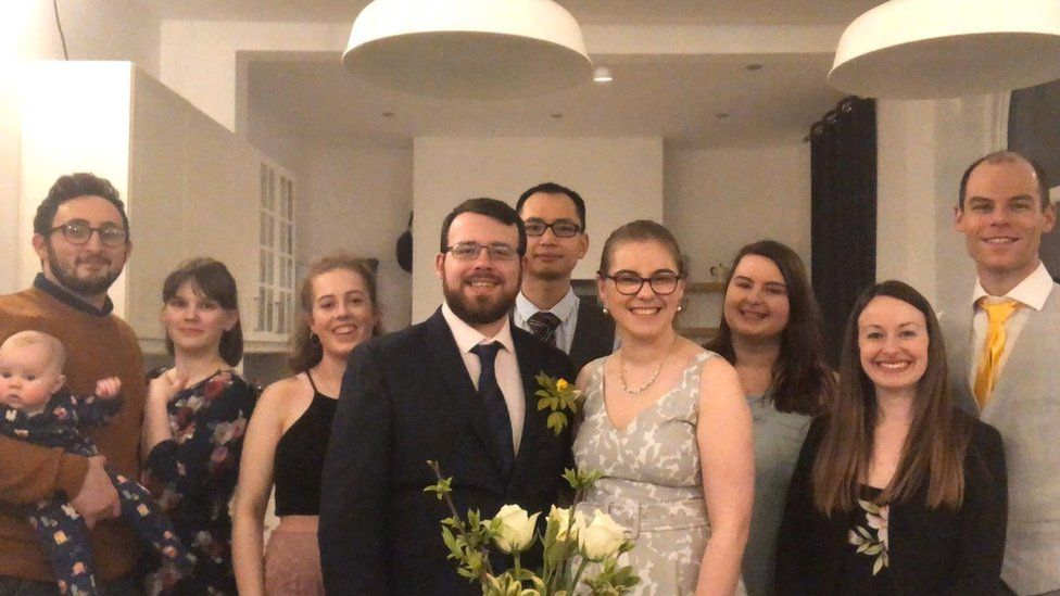 The majority of Kirsten and Richard Groom's guests watched their wedding on live stream