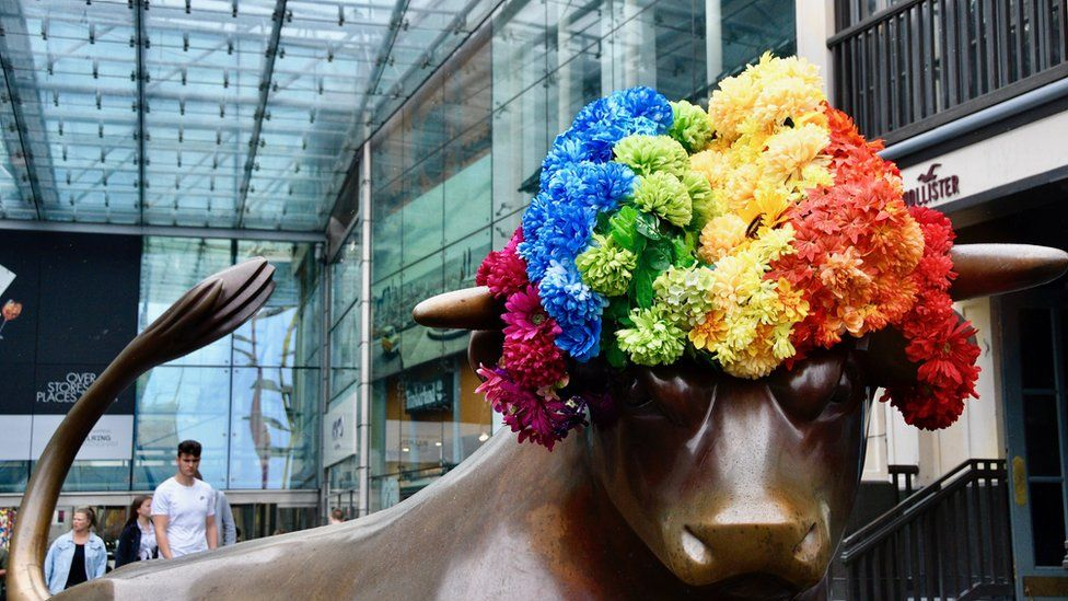 Bullring bull with a rainbow wig