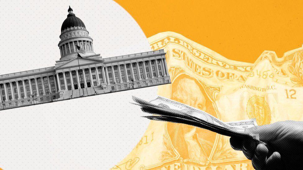 Graphic of the Utah state legislature and US money