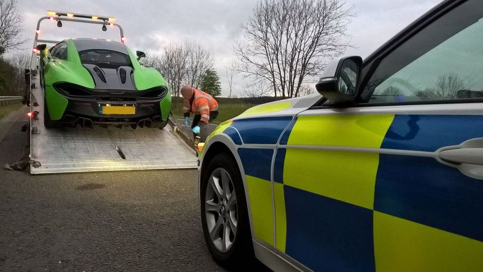 Supercar seized on the M1