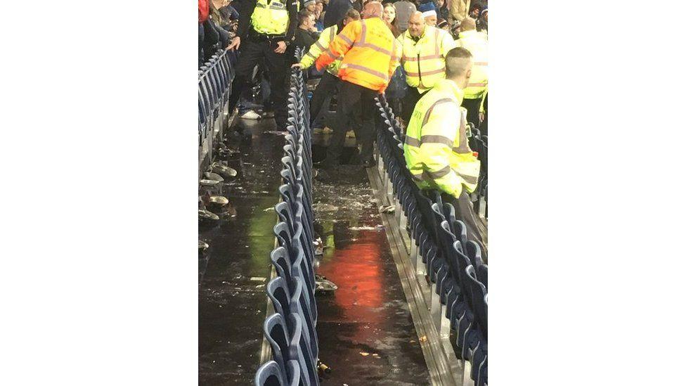 Damaged stand at Durham cricket ground