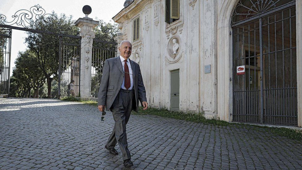 Paolo Savona takes a walk in Villa Borghese public park in Rome, Italy, 25 May 2018