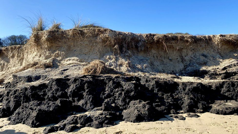 Oil deposits on Lowestoft's North Beach
