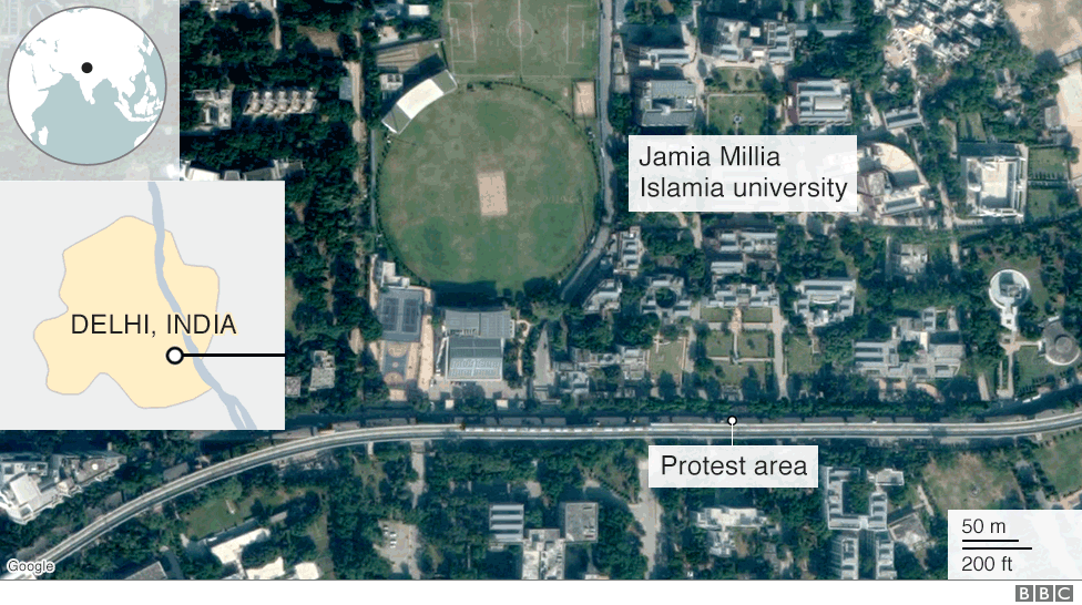 Map showing location of Delhi protests