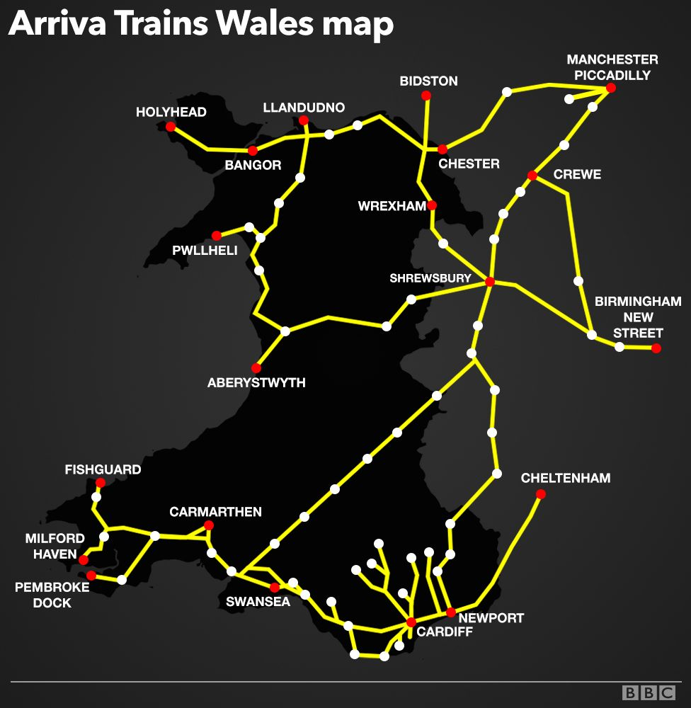 Arriva Trains Wales network map