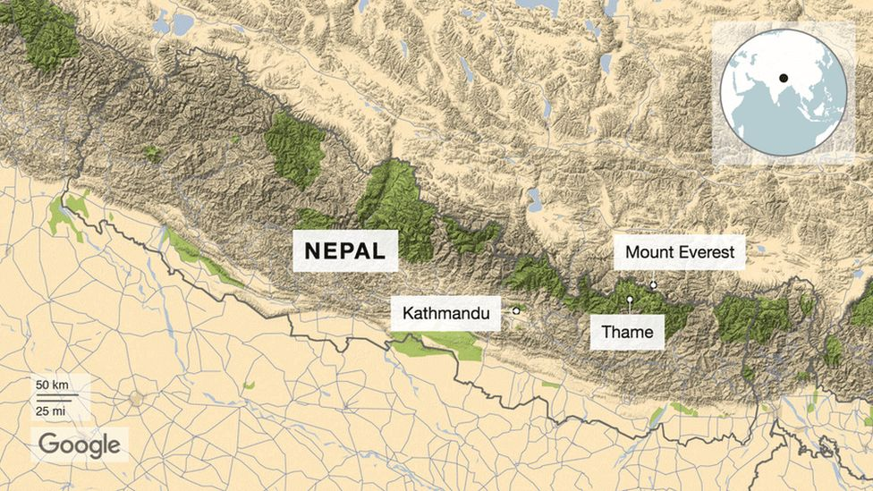 Map of Nepal showing the capital city Kathmandu and Mount Everest on the border of Nepal and Tibet
