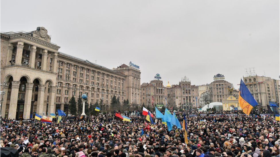 A crowd gathered in Kyiv's Independence Square