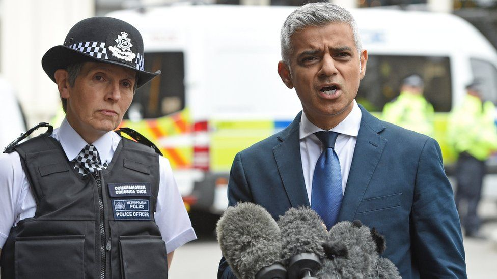 Mayor of London, Sadiq Khan (R) and Metropolitan Police Commissioner, Cressida Dick (L)