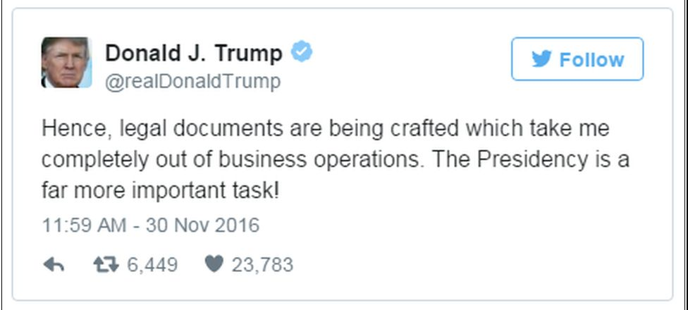 """A tweet reads: """"Hence, legal documents are being crafted which take me completely out of business operations. The Presidency is a far more important task!"""""""