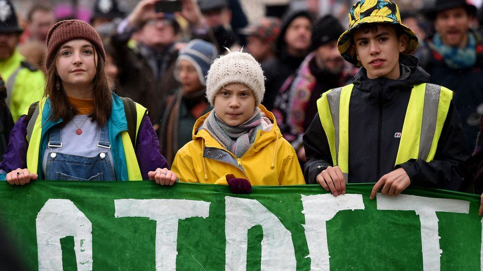 Greta Thunberg leads the crowds through Bristol city centre