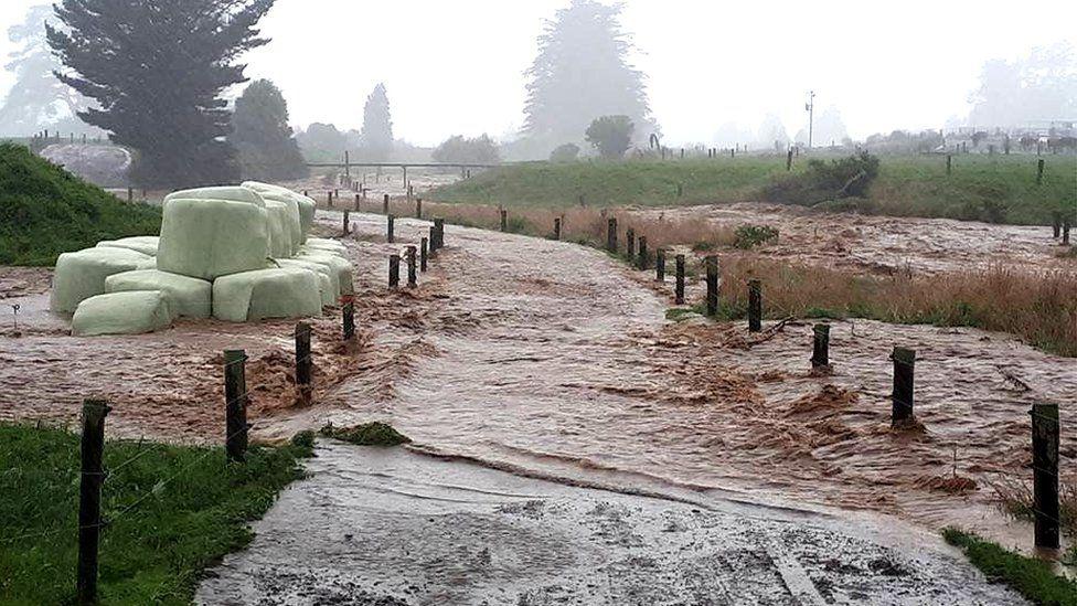 A flooded farm in Bainham, New Zealand, 20 February 2018