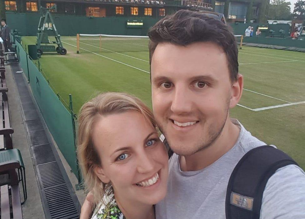 Mike Johnson and fiancee Emily at the Wimbledon Tennis grounds