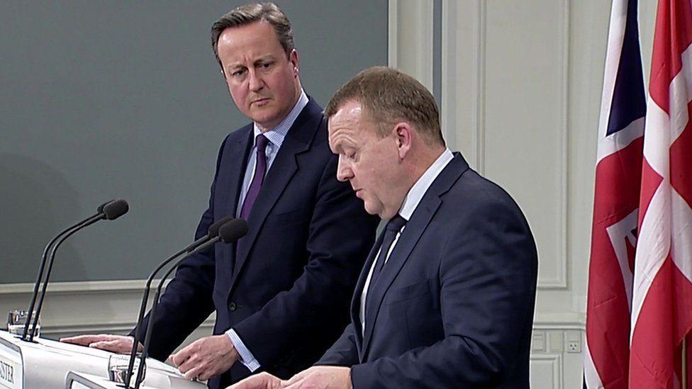 David Cameron and Danish PM Lars Lokke Rasmussen