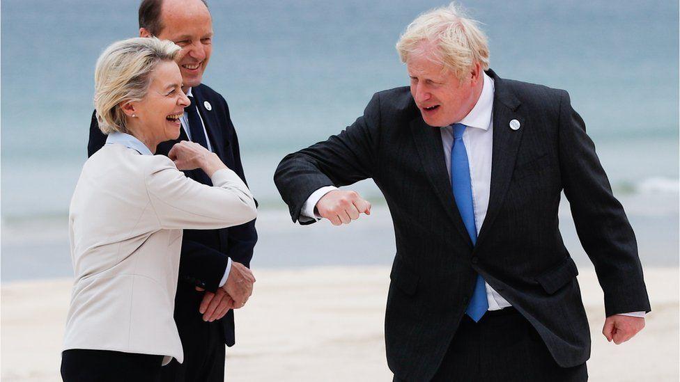 Boris Johnson and Urusla von der Leyen at the G7 summit in Cornwall last month