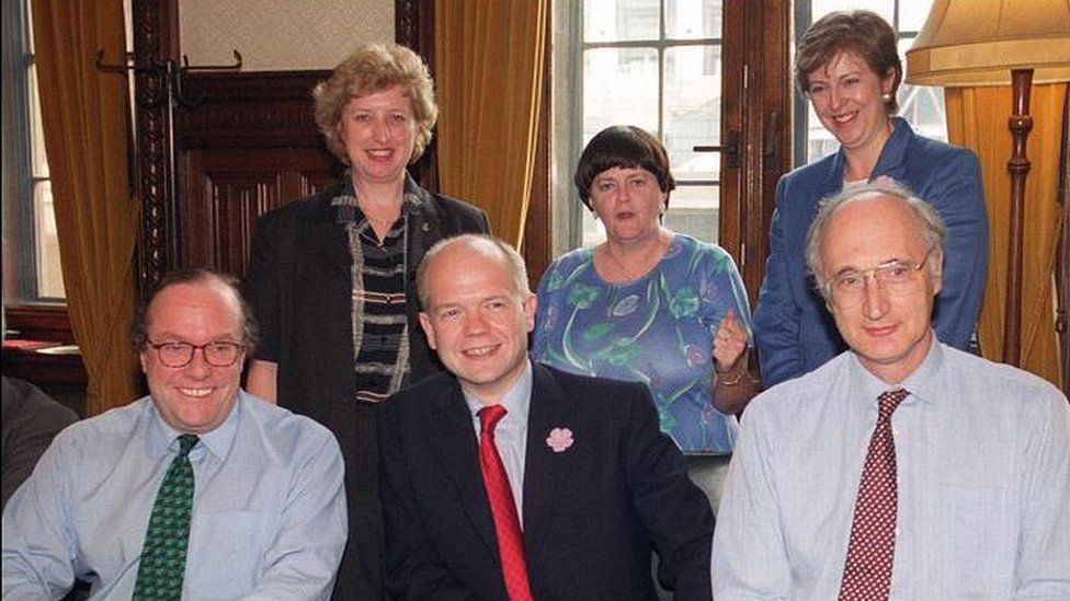 Theresa May and other members of William Hague's shadow cabinet in 1999