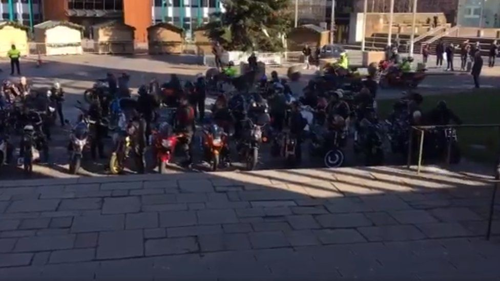 Bikers outside the Cathedral