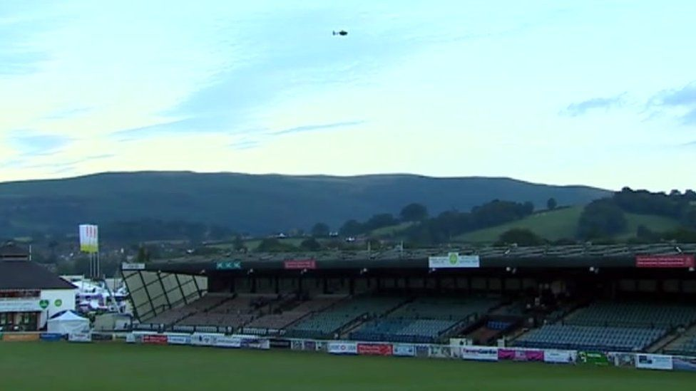 The police helicopter above the Royal Welsh showground