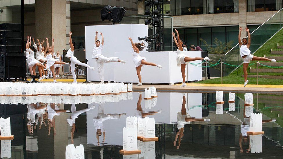 Students of The LaGuardia High School of Music & Arts and Performing Arts perform at the Shinnyo Lantern Floating for Peace 2014 at Hearst Plaza, Lincoln Center on September 21, 2014 in New York City