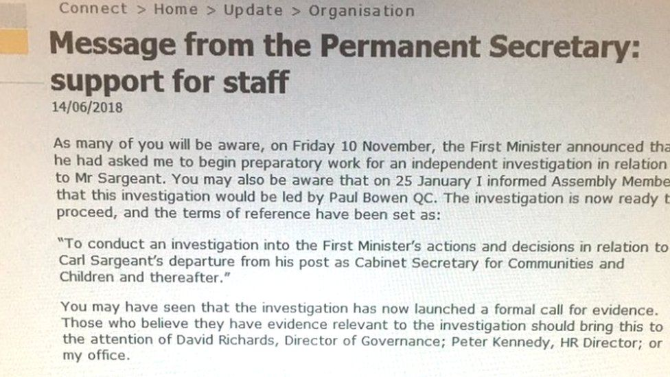 Letter from Dame Shan Morgan to assembly staff regarding Carl Sargeant inquiry